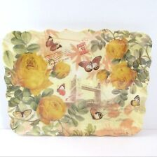 "3 Plastic Rectangle Reusable Trays Platters Yellow 11"" x 8""  Roses Butterflies"