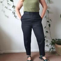 Country Road Vintage 80s-90s Black Wool Pants AU14 L High-Waisted Made in Aus