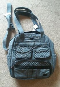 Lug Puddle Jumper Overnight Gym Diaper Bag Carry On GRAY Quilted Crossover-NWT
