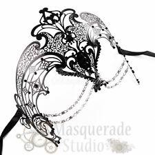 Womens Egyptian Chain Venetian Laser-Cut Filigree Metal Masquerade Mask [Black]