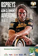 Ospreys vClermont Auvergne Heineken Cup 18 Oct 2009 Liberty RUGBY PROGRAMME