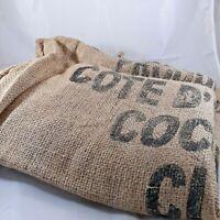 Burlap Sack used Cocoa Bean Bag 28 x 40 rat rod farmhouse brown