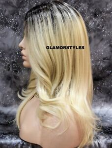 Hand Tied Monofilament Lace Front Full Wig Wavy Ombre Brown Blonde Heat OK NWT