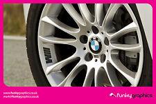 BMW M SPORT SYMBOL LOGO ALLOY WHEEL DECALS STICKERS GRAPHICS x5 IN BLACK VINYL