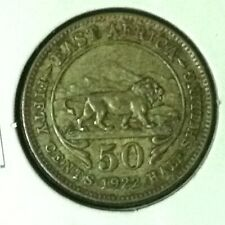 East Africa  50 Cents  .250 Silver  KM 20  XF  1922