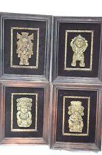 4 Framed Michael Zarebski Aztec Mexican Folt Art Malachite Carvings MCM