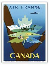 Canada Maple Leaf Vintage Airline Travel Art Poster Print