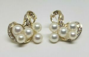14k Yellow Gold Pearl and Diamond Earrings with Omega Backs 8.6 Grams