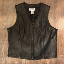 Womens Black Leather Lambskin Vest Sz Small w/ Zipper - Motorcycle, Biker