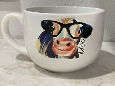 Large Coffee Cup or Soup Mug White w/ Cow wearing Glasses 3.5� tall x 6� wide