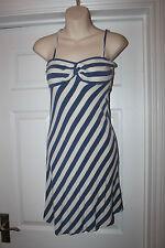 Ladies Blue & White Miss Selfridge Dress Striped Stretchy Frock