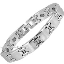 MENS MAGNETIC HEALING BRACELET SILVER LINK BANGLE ARTHRITIS PAIN RELIEF 50