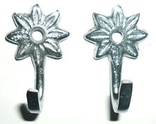 DECORATIVE SILVER CURTAIN TIE BACK STAR HOOKS, DOOR HOOK X2