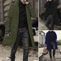 Men Long Sleeve Plush Cardigan Long Furry Double-Sided Coat Overcoat Jacket Plus