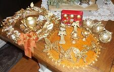 Gold & Amber Bejeweled 21pc Ornate Christmas Wreath Place Card Ornament Lot 849
