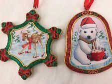 2 Baby Animal Christmas Ornaments By: Danbury Mint Fawn (Deer) & Bear New