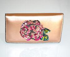 PORTAFOGLIO ORO ROSA donna borsello pochette eco pelle paillette clutch bag G2