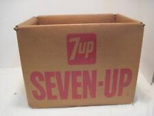 OLD VINTAGE METAL FRAME CARDBOARD 7-UP SODA POP BEVERAGE CARRIER BOX CRATE