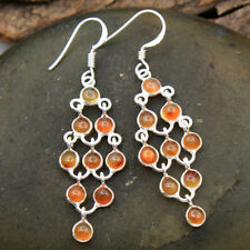 "Natural Carnelian Gemstone Solid 925 Sterling Silver Long Dangle Earrings 2.1"""