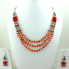 Necklace Earrings Natural Carnelian Gemstone Semi Precious Stone Beads Jewelry