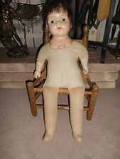 Antique Straw Stuffed Composition Doll And Antique Chair