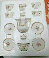 Miniature Rose Tea Set - 13 Piece - Bone China- New In Box 1990