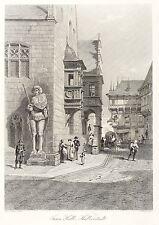 HALBERSTADT - RATHAUS - ECKE MIT ROLAND - Cassell - Stahlstich 1879