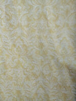 Retro Yellow White Vintage Nubby Texture Pinch Pleated Drapes Curtains Pair MCM