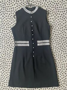 Dress - Black With Silver and White Detail  - Mini - Vintage - 60s 70s - Size 10