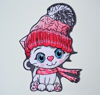Large Cute Soft Fabric Embroidery Sewn On Patch Badge Applique Cat Pom Pom Hat