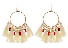 White Bohemian Golden Round Shape Dangle Earrings with Cotton Tassels # 527