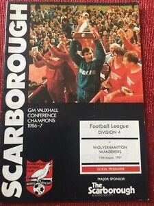 Scarborough v Wolves Programme 15/8/1987, SCARBOROUGH's 1st LEAGUE GAME