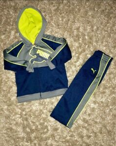 EUC PUMA Boys Track Suit Athletic Warm-Up Hoodie 2-PC Set (Navy/Gray) - SZ 24M