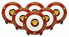 Royalty Porcelain, Luxury 6-pc Set Dinner Plates Medusa Greek Key (Red)