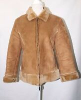 Per Una Faux Fur Suede Jacket Tan Coat Blogger Grunge Retro Size M