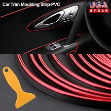 Red 32ft/10M Car Interior Door Gap Edge Line Insert Molding Trim Strip Deco Tool