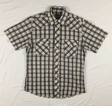 Vintage Wrangler Western Wear Shirt Pearl Snap Short Sleeve Brush Popper MEDIUM