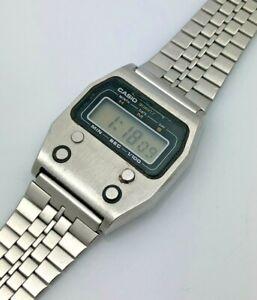 Rare Casio 1980s LCD Digital Time / Chronograph Steel Mens Wristwatch 52QS-14