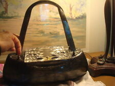 Vintage Llewellyn Pearlish Grey Lucite Purse With Carved Lid 1950's SIGNED