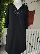 Pretty Monsoon Beaded Black Dress Size 8 Lined Pockets 3/4 Sleeves New.