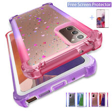 For Samsung Galaxy Note 20 Ultra S9 S10 Plus Clear Glitter Bling Cute Case Cover