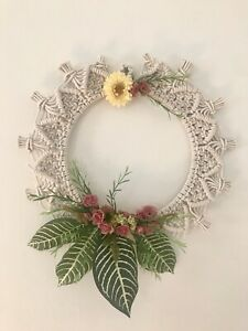 Macrame Wreath With Faux Flowers And leaves Boho Wall Decor/ Front door decor