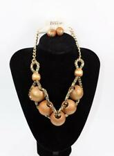 Necklace & Earrings Set Premium Fashion Jewelry Gold Tone Wood Beads JXLJ New