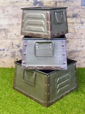 S/3 Industrial Furniture Metal Storage Bins Boxes Crates Vintage Factory Parts