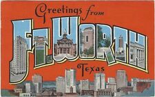 1952 Large Letter postcard- Greetings From Ft. Worth, Texas
