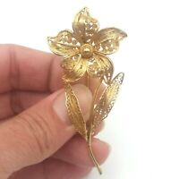Vintage Gold Tone Filigree Flower Brooch Pin