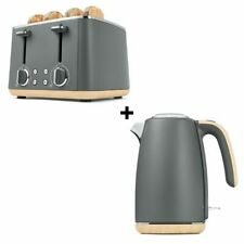 Grey Toaster 4 Slice & Cordless 1.7L Kettle Stainless Steel Electric Kitchen Set