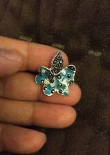 925 Genuine Sterling Silver Ring Jewelry With Lab Marcasite & Blue Enamel Sz7.75