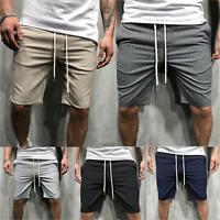 Mens Elastic Waist  Shorts Beach Cargo Summer Beach Drawstring Pants Trousers