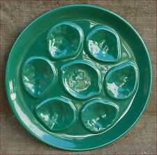 Vintage Green Oyster Plate French Faience Niderviller 60's